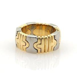 Bulgari Parentesi 18K Yellow Gold & Stainless Steel Flex Open Band Ring