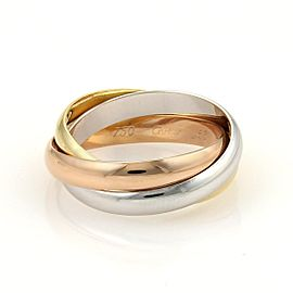 Cartier Trinity 18K Yellow, White and Rose Gold Rolling Band Ring Size 10.5