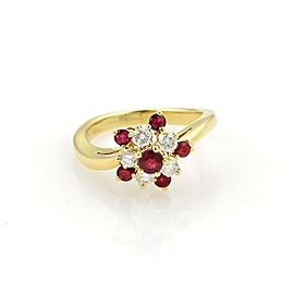 Tiffany & Co. 18K Yellow Gold with 0.30ct Diamonds and 0.40ct Ruby Floral Cluster Ring Size 4.25