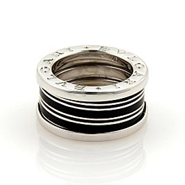 Bulgari B Zero-1 Biselovan 18K White Gold & Black Enamel Band Ring Size 3.5