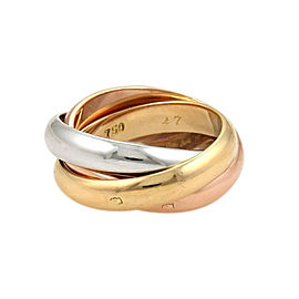 Cartier Trinity Paris 18K Yellow, White and Rose Gold Rolling Band Ring Size 4