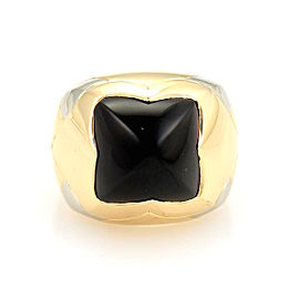 Bulgari Bvlgari 18K Yellow Gold Pyramid Onyx Floral Dome Shape Ring Size 6.5