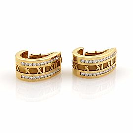 Tiffany & Co. Atlas 18K Yellow Gold with 2.20ct Diamond Curved Hoop Earrings