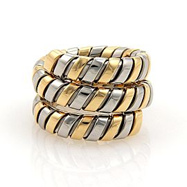 Bulgari Tubogas 18K Yellow Gold & Stainless Steel Wide Wrap Band Ring