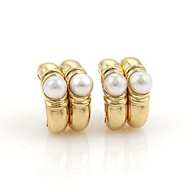 Bulgari Bvlgari 18K Yellow Gold Pearls Double Hoop Earrings
