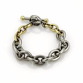 Kieselstein-Cord 18K Yellow Gold & Stainless Steel Oval Link Toggle Clasp Bracelet