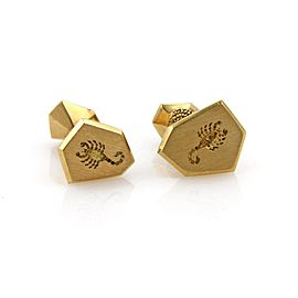 David Webb 18K Yellow Gold Carved Scorpion Geometric Shape Stud Cufflinks