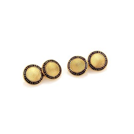 Bulgari 18K Yellow Gold Enamel Chain Double Button Cufflinks