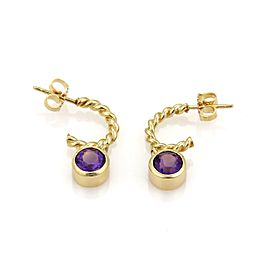 Tiffany & Co. 18K Yellow Gold with 2ct Amethyst Dangle Charm Hoop Earrings