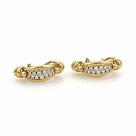 Piaget 1ct Diamond 18K Yellow Gold Curved Post Clip Earrings