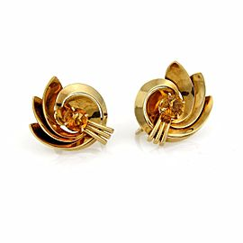Tiffany & Co. 2.5ct. Citrine 14K Yellow Gold Floral Screw Back Vintage Earrings