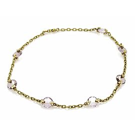 Judith Ripka 0.70ct. Diamond & Amethyst 18K Yellow Gold Textured Necklace