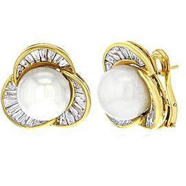 Damiani 18K Yellow Gold Diamonds & Cultured Pearl Huggie Earrings