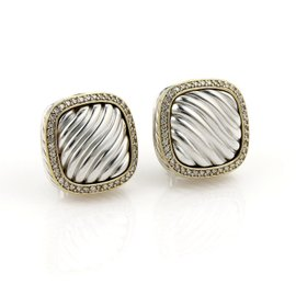 David Yurman Diamond Sterling Silver and 18K Yellow Gold with 0.80ct. Cable Post Clip Earrings