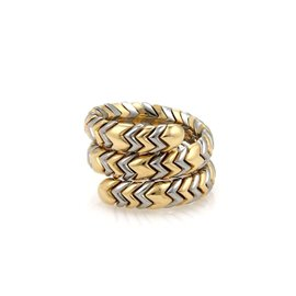 Bulgari Spiga 18K Yellow Gold & Stainless Steel Wide Wrap Band Ring Size 8