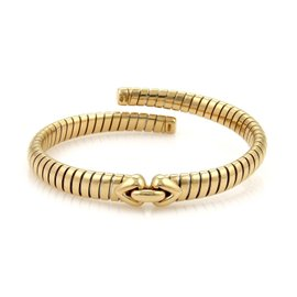 Bulgari Bvlgari Tubogas 18K Yellow Gold Tubogas Hearts Open Flex Band Bracelet