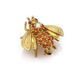 Tiffany & Co. 18K Yellow Gold with Orange Sapphire, Diamond & Ruby Bee Vintage Brooch
