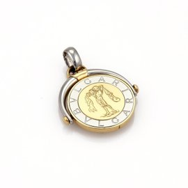 Bulgari Zodiac 18K Yellow Gold & Stainless Steel Aquarius Medallion Flip Pendant