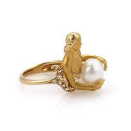Carrera Y Carrera 18K Yellow Gold with 0.15ct Diamond & Pearl Mermaid Ring Size 5