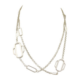 Hermes Attelage 925 Sterling Silver Station Chain Necklace