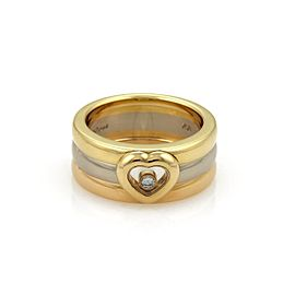 Chopard Happy Diamond 18K Yellow, Rose and White Gold with 0.05ct Floating Diamond Heart 3 Band Ring Size 6