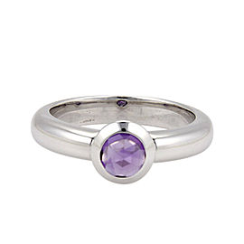 Tiffany & Co. France 18K White Gold & 0.65ct. Bullet Shape Amethyst Solitaire Ring Size 8.25