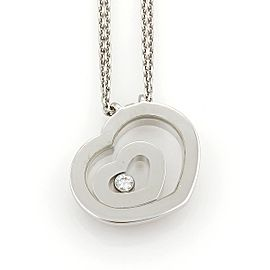 Chopard Happy Spirit Diamond 18K White Gold with 0.10ct Diamonds Heart Double Pendant Chain Necklace