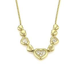 Chopard Happy Diamond 18K Yellow Gold with 0.25ct Diamonds Multi Hearts Charm Necklace