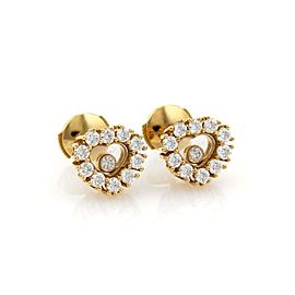 Chopard Happy Diamond 18K Yellow Gold with 1.10ct Round Diamonds Hearts Stud Earrings