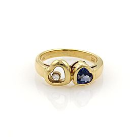 Chopard Happy Diamond 18K Yellow Gold with 1ct Blue Sapphire and 0.05ct Diamonds Double Heart Ring Size 6.5