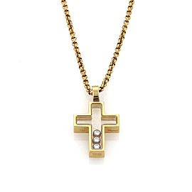 Chopard Happy Diamond 18K Yellow Gold with 0.15ct Diamond Cross Pendant & Chain Necklace