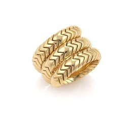 Bulgari Spiga 18K Yellow Gold Serpenti Wrap Band Ring Size 7
