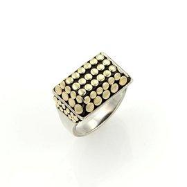 John Hardy 18K Yellow Gold & 925 Sterling Silver Top Dot Ring Size 6.5
