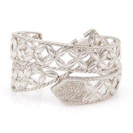 John Hardy 925 Sterling Silver & 0.36ct. Diamonds Open Floral Design Cuff Bangle