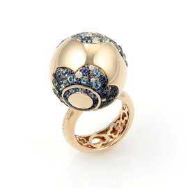 Pasquale Bruni Songi D'oro 18K Rose Gold with 0.22ctw Diamond & 3.87ct Sapphire Spinel and Topaz Ring Size 7