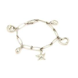 Tiffany & Co. Elsa Peretti 925 Sterling Silver Five Charm Oval Link Charm Bracelet