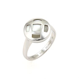 Cartier Pasha 18K White Gold with Mother of Pearl Ring Size 5.25
