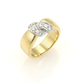 Pomellato Diamonds 18K Yellow and White Gold Ribbon Wrap Band Ring Size 6.5