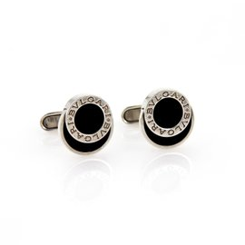 Bulgari Onyx Engraved Sterling Silver Fancy Round Button Stud Cufflinks