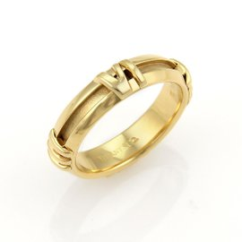 Tiffany & Co. Atlas 18K Yellow Gold Roman Numeral Band Ring Size 5.25