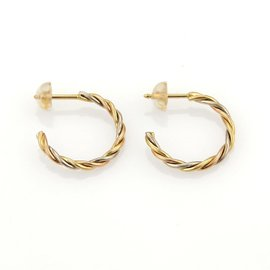 Cartier Trinity 18K Rose, White and Yellow Gold Twisted Semi Hoop Stud Earrings