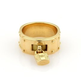 Hermes Kelly Bag 18K Yellow Gold Lock Charm Band Ring Size 4.75