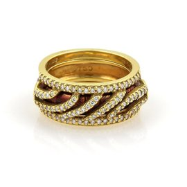 Hidalgo 18K Yellow Gold with 0.75ct. Diamonds & Brown Enamel Open Band Ring Size 6.5