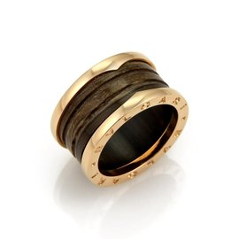 Bulgari B Zero1 18K Rose Gold with Brown Marble Band Ring Size 7.75
