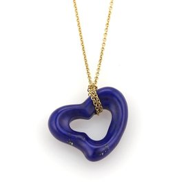 Tiffany & Co. Elsa Peretti 18K Yellow Gold with Lapis Open Heart Pendant Necklace