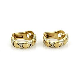 Bulgari Parentesi 18K White and Yellow Gold Wide Hoop Earrings