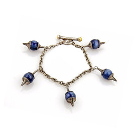 Gurhan Gatsby 925 Sterling Silver & 24K Yellow Gold with Kyanite 5 Charms Chain Toggle Bracelet