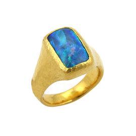 Gurhan Paradiso 24K Yellow Gold & Opal Rectangular Cocktail Ring Size 7.5