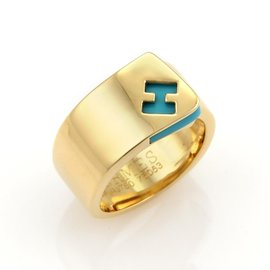 Hermes 18K Yellow Gold with Turquoise Logo H Band Ring Size 6.5