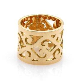 Hermes 18K Yellow Gold Open Swirl Pattern Band Ring Size 6.25